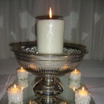 Pillar Candle in a Silver Bowl