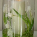 Murano Vase with Pillar Candle and Flowers
