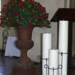 Trio of Pillar Candles and stand