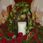 Rustic lantern (open style lantern) with Pillar Candle and flowers