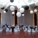 White Draping with Black Runners, Lights and Black and Whit Balls