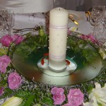 Round Floating Bowl with pillar candle