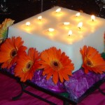 Square Wrought Iron Stand with Multi wick candle