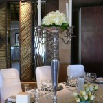 Silver Candelabra with Dinner Candles