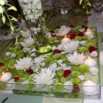 Open Square Bowl with flowers and floating candles