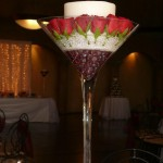 Martini Vase with pillar candle and flowers